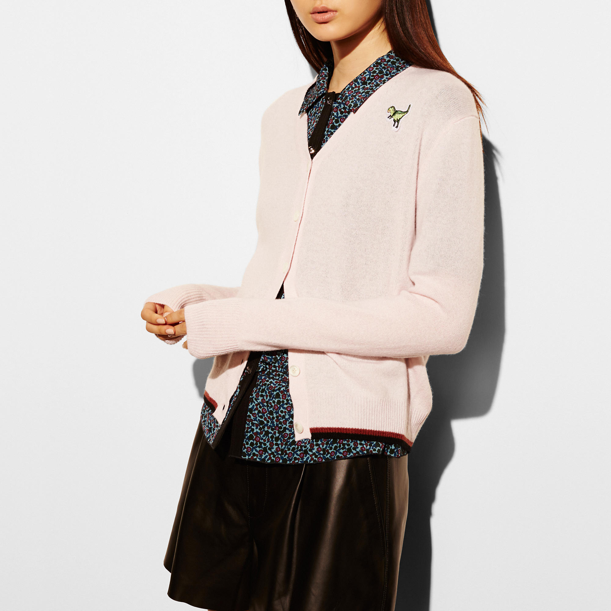 Coach V-Neck Cardigan With T-Rex Patch