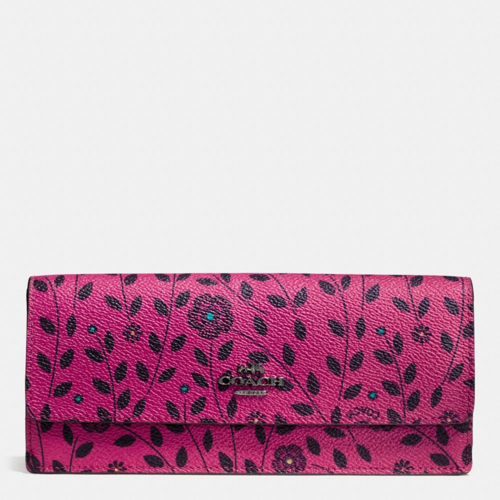 Soft Wallet in Willow Floral Print Coated Canvas