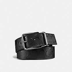 HARNESS BUCKLE CUT-TO-SIZE REVERSIBLE BELT, 38MM - BLACK/BLACK - COACH 55168
