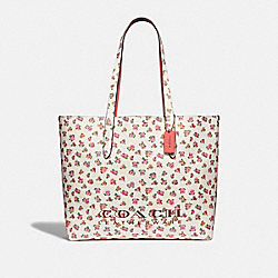 HIGHLINE TOTE WITH FLORAL PRINT - CHALK/GOLD - COACH 55181