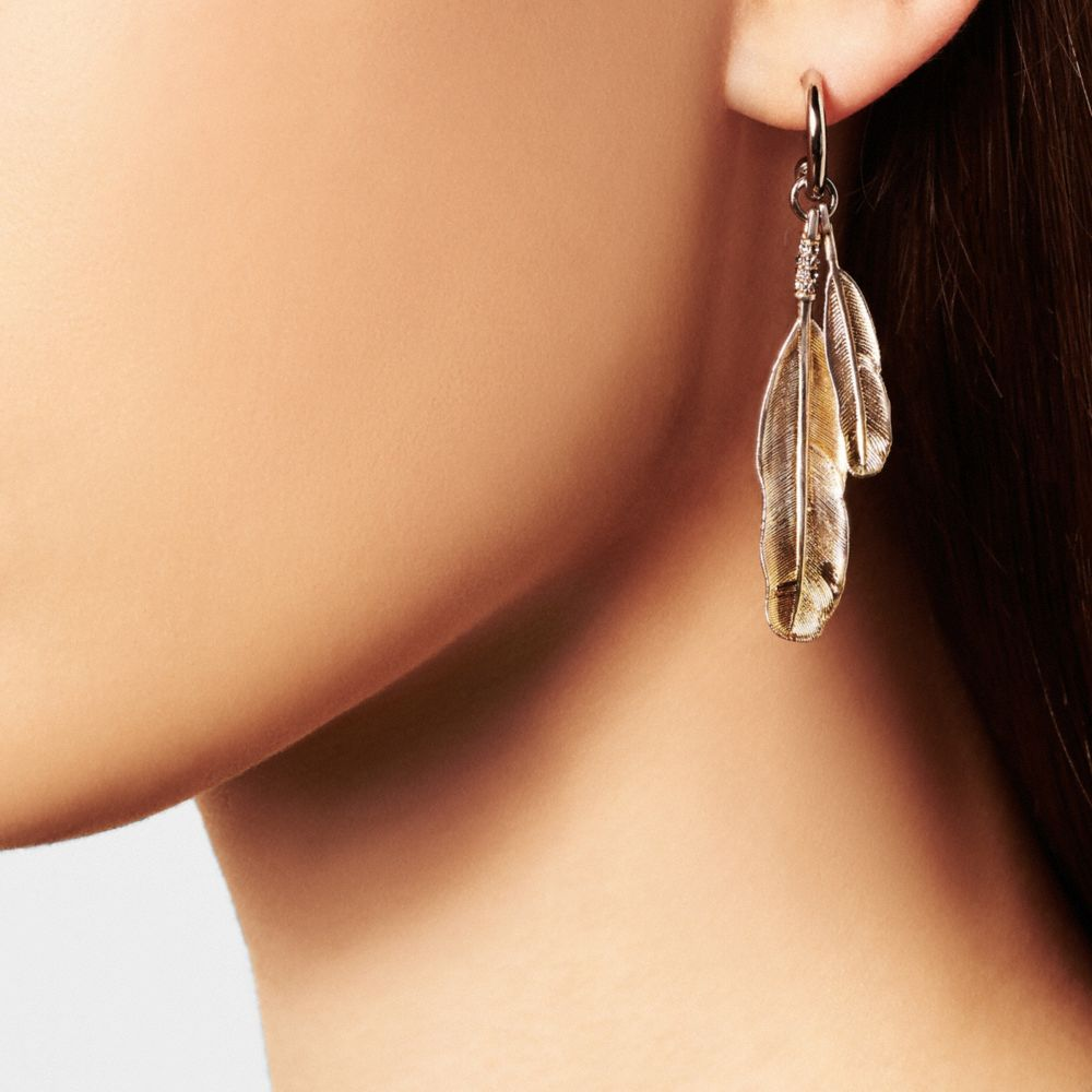 Gilded Drop Feather Earrings - Alternate View A1