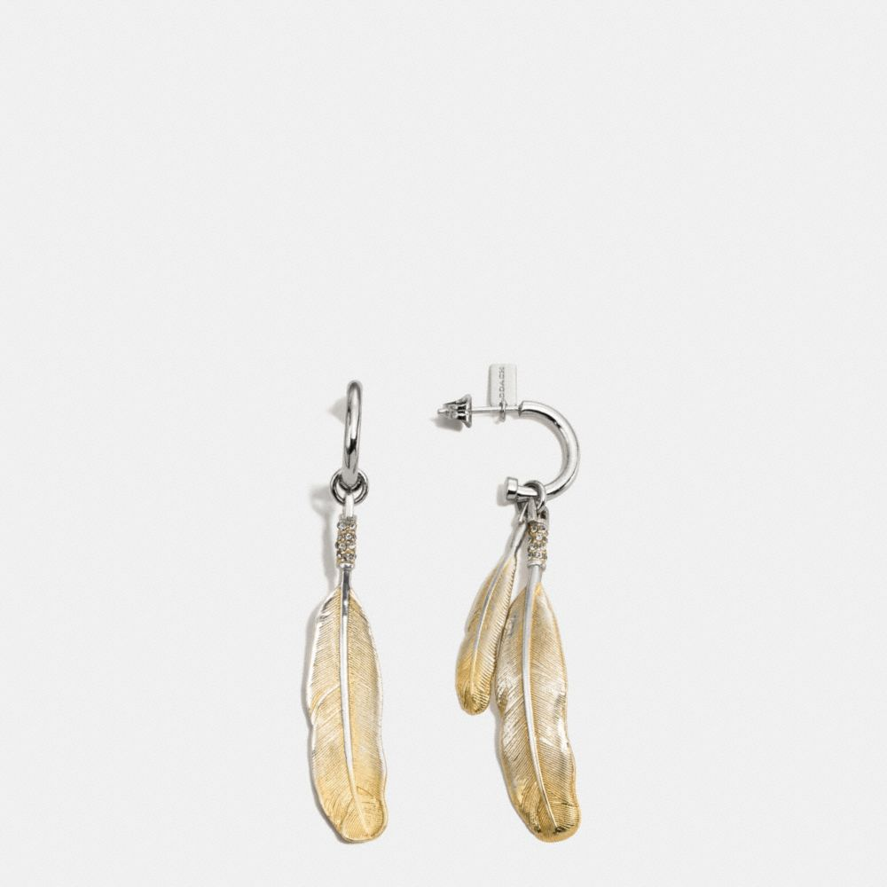 GILDED DROP FEATHER EARRINGS