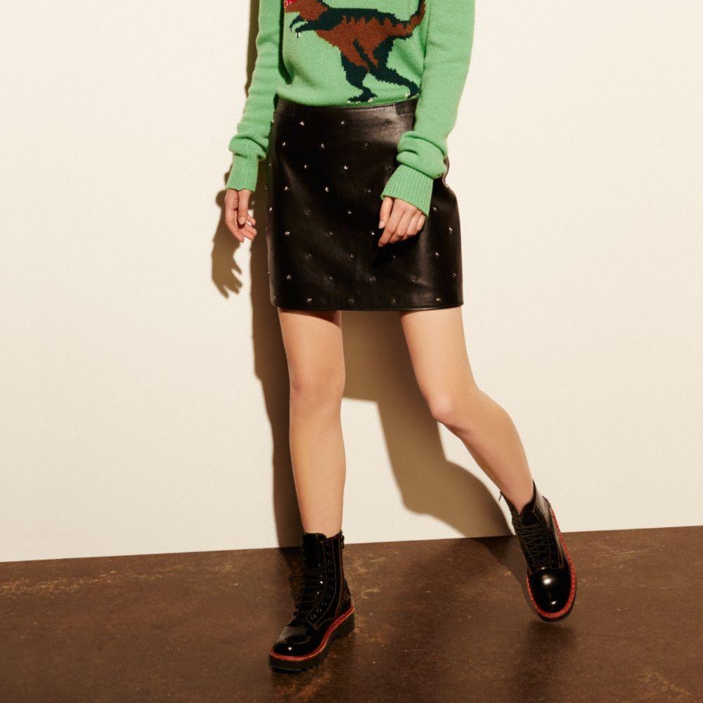 Star Stud Leather Mini Skirt