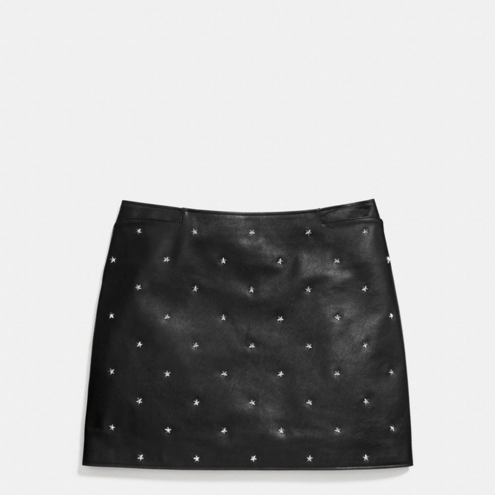 Coach Star Stud Leather Mini Skirt Alternate View 1