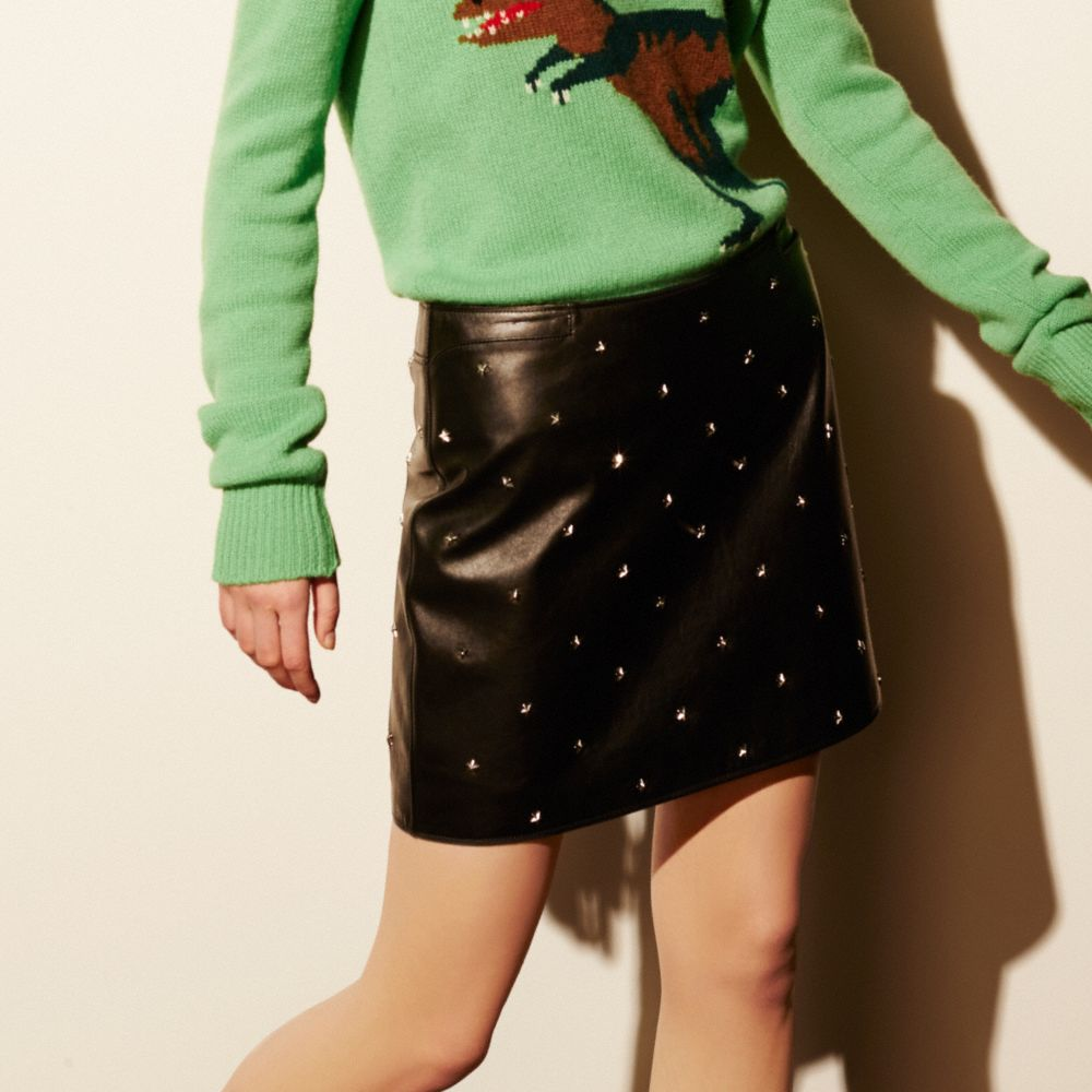Coach Star Stud Leather Mini Skirt Alternate View 2