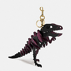 LARGE REXY BAG CHARM - GD/BLACK/OXBLOOD - COACH 55426