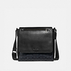 KENNEDY MAP BAG IN SIGNATURE CANVAS - CHARCOAL/BLACK ANTIQUE NICKEL - COACH 55549