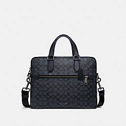 KENNEDY BRIEF IN SIGNATURE CANVAS - QB/MIDNIGHT NAVY - COACH 55569