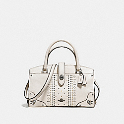 MERCER SATCHEL 24 IN GRAIN LEATHER WITH BANDANA RIVETS - DK/CHALK - COACH 55634