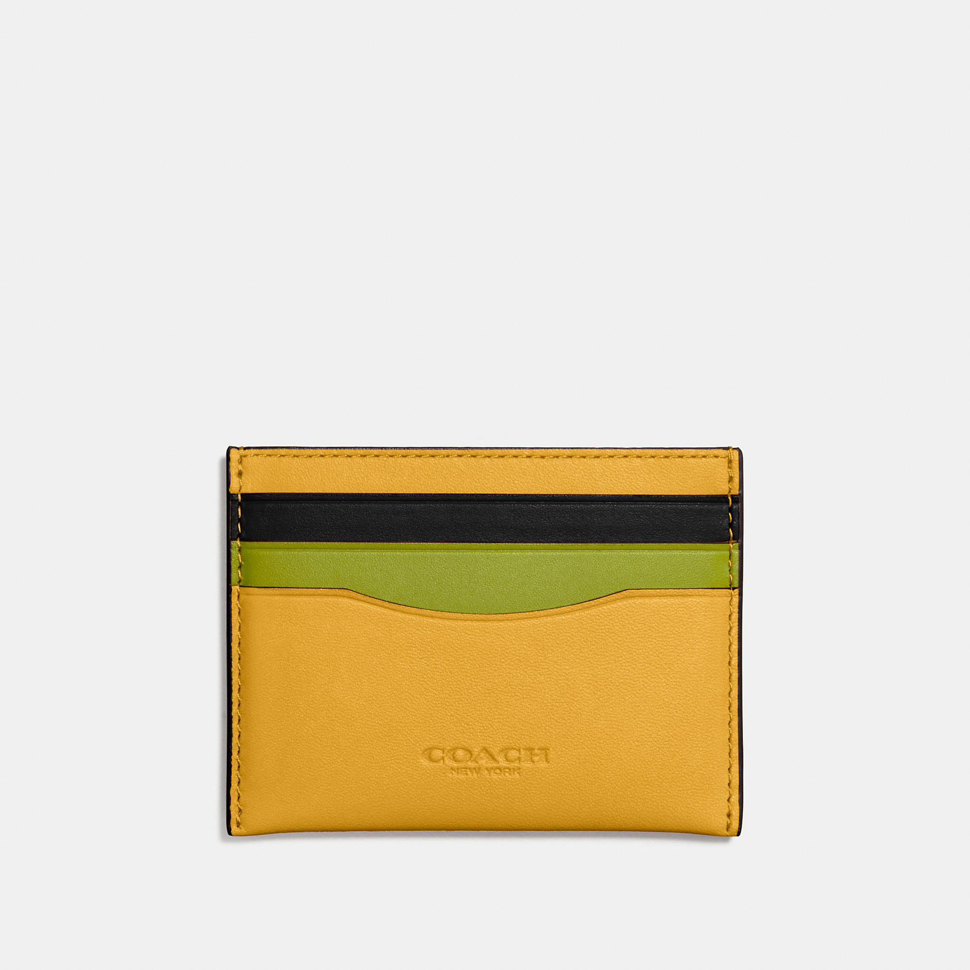Coach Flat Card Case In Colorblock Glovetanned Leather