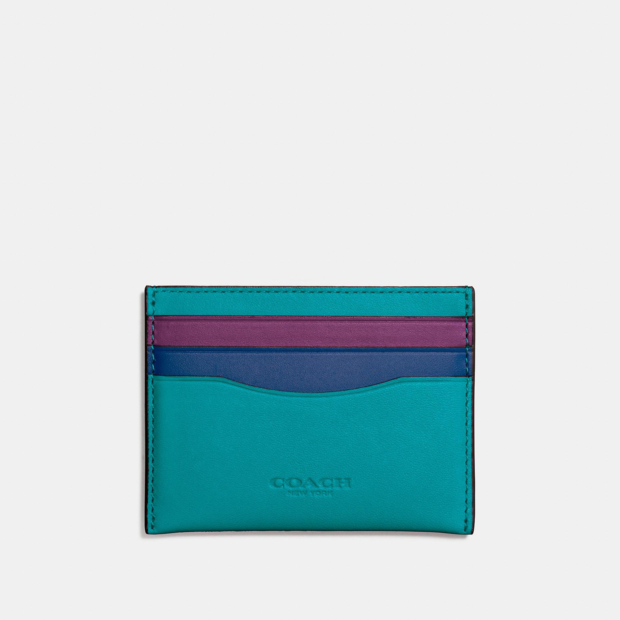 Coach Flat Card Case In Colorblock Glovetanned Leather