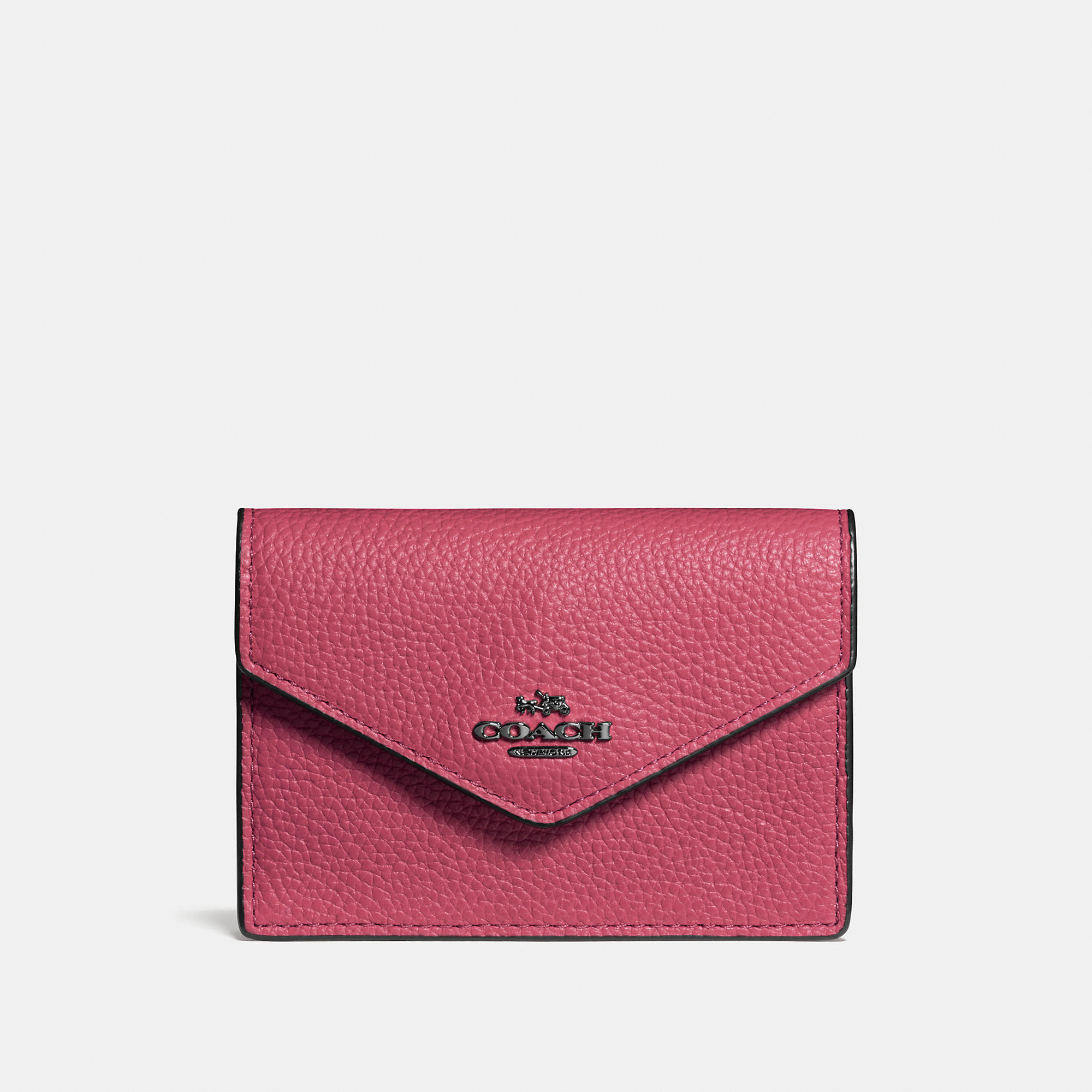 Coach Envelope Card Case In Polished Pebble Leather