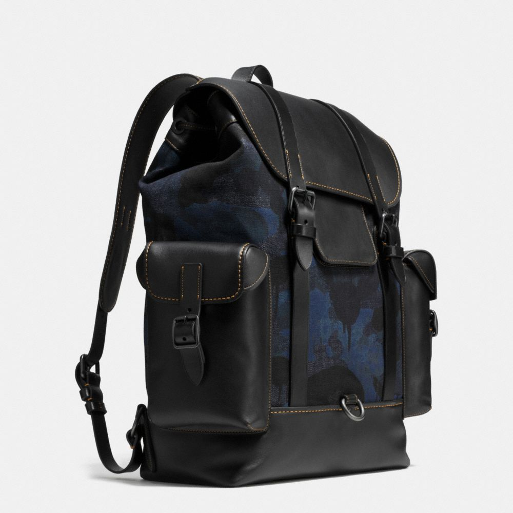 Gotham Backpack in Wild Beast Print Denim - Alternate View A2