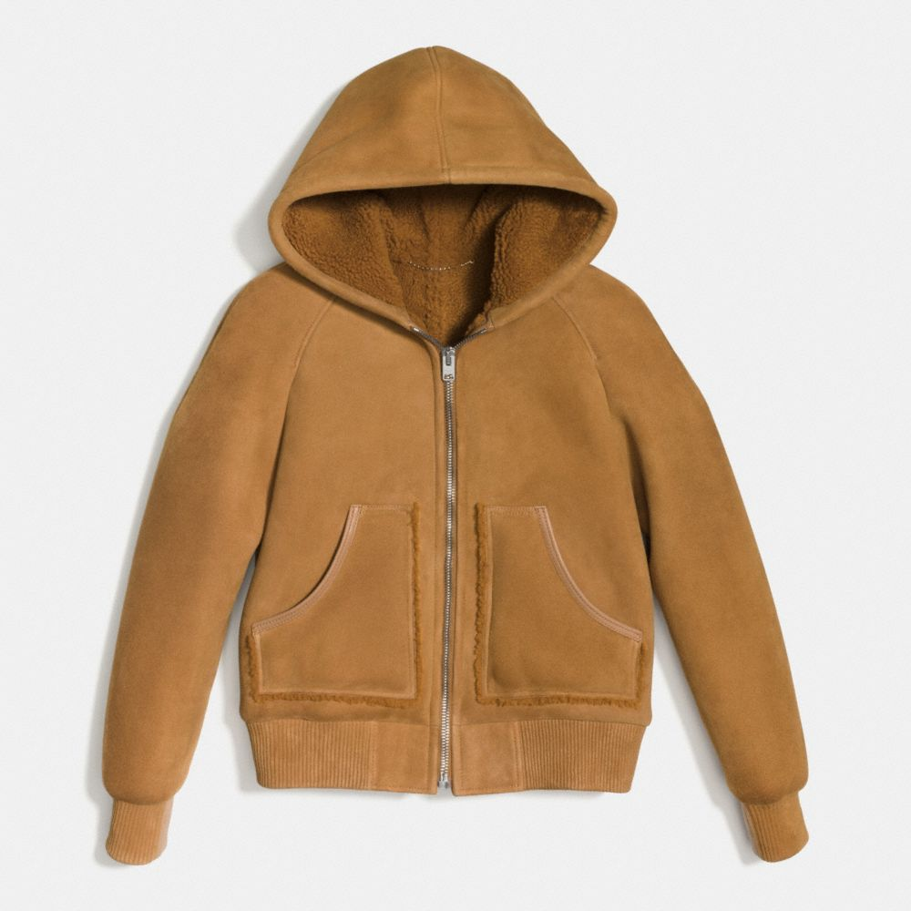 Suede Shearling Hoodie - Alternate View A1