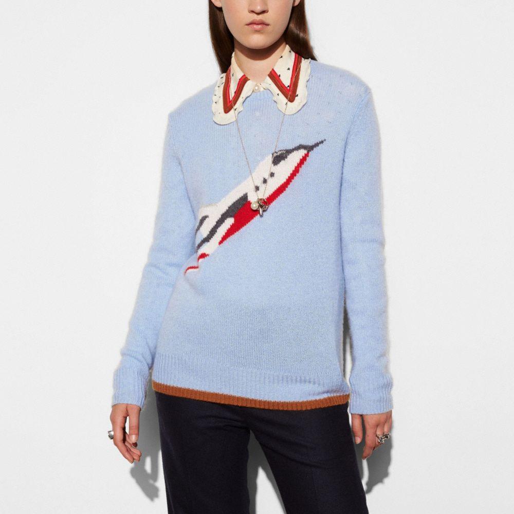 Rocketship Intarsia Crewneck Sweater