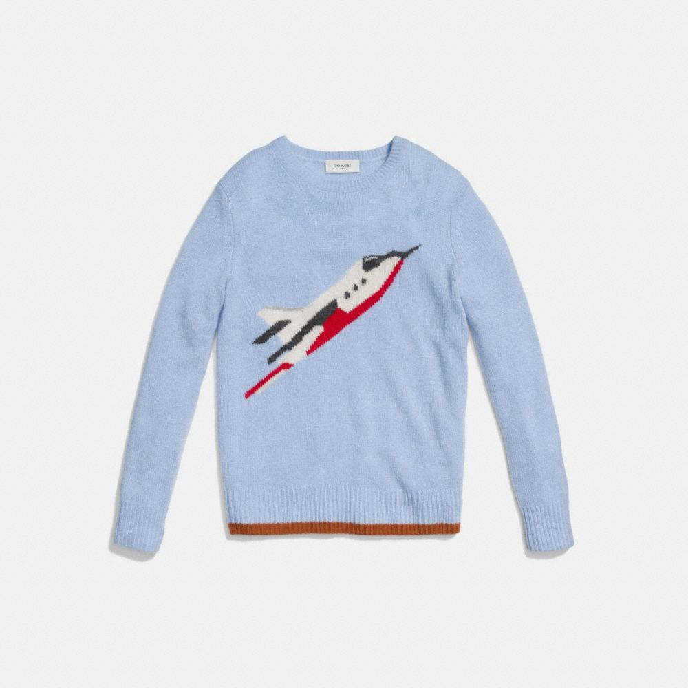 Rocketship Intarsia Crewneck Sweater - Alternate View A1