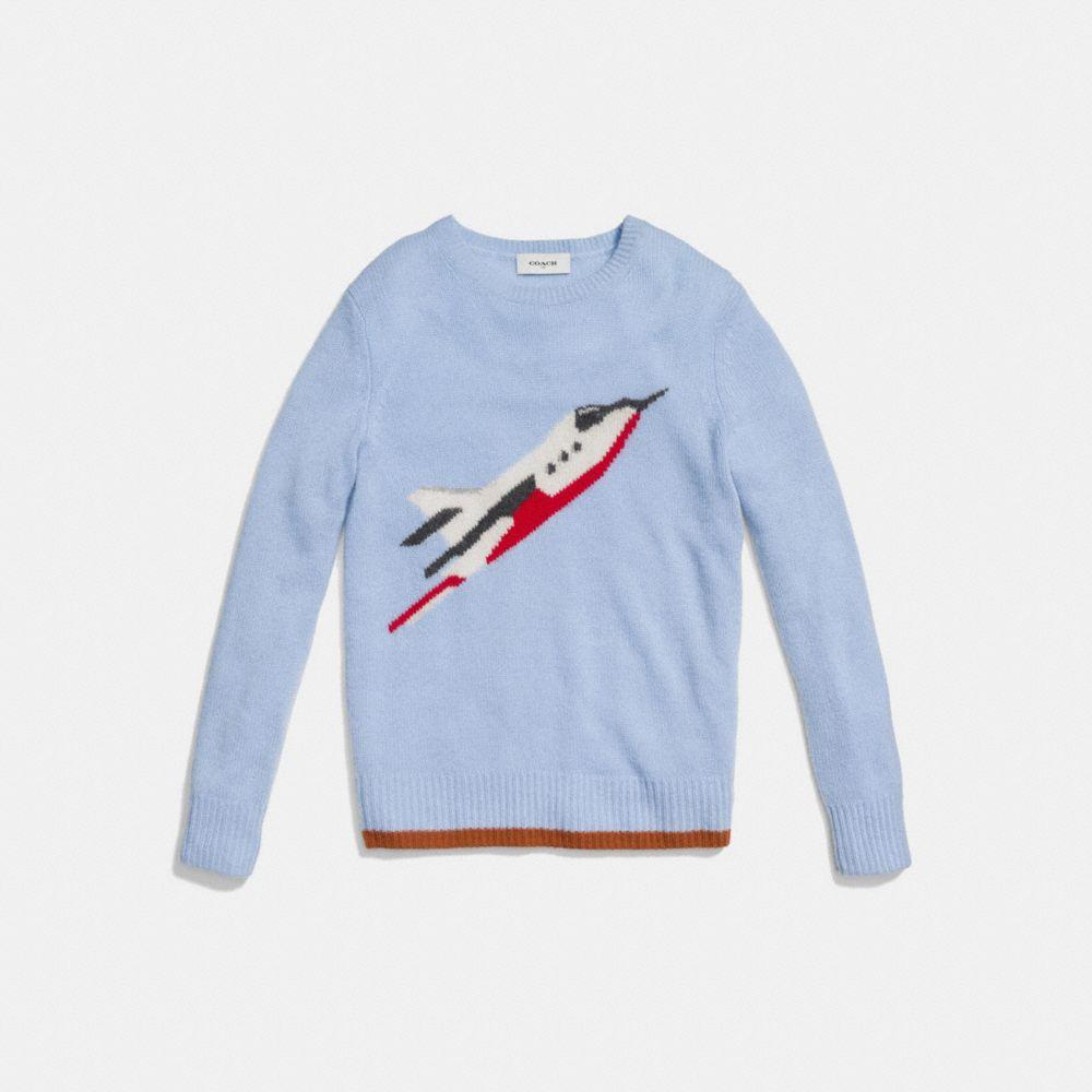 Rocketship Intarsia Crewneck Sweater - Alternate View A1