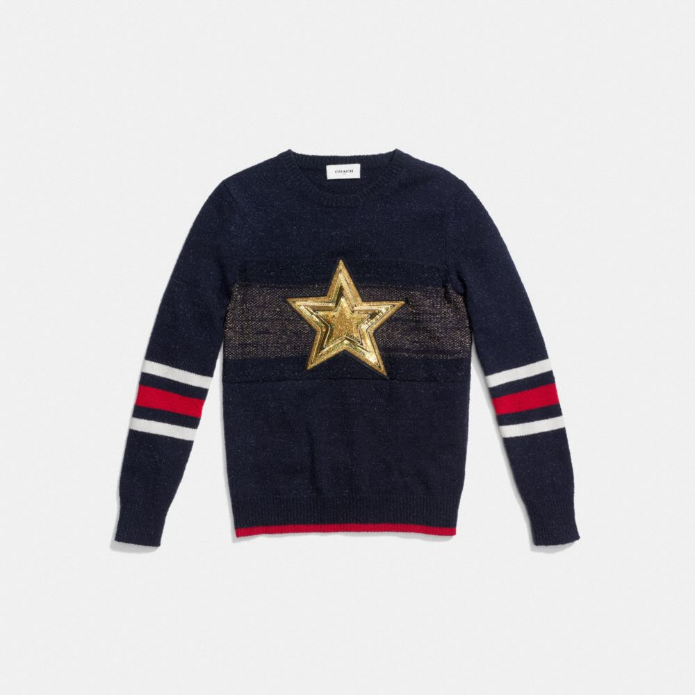 WOOL GLITTER STAR CREWNECK SWEATER - Alternate View
