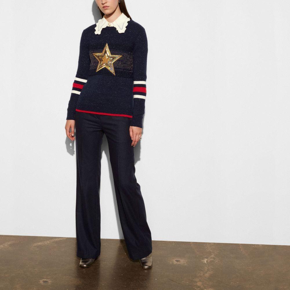 Wool Glitter Star Crewneck Sweater - Alternate View M