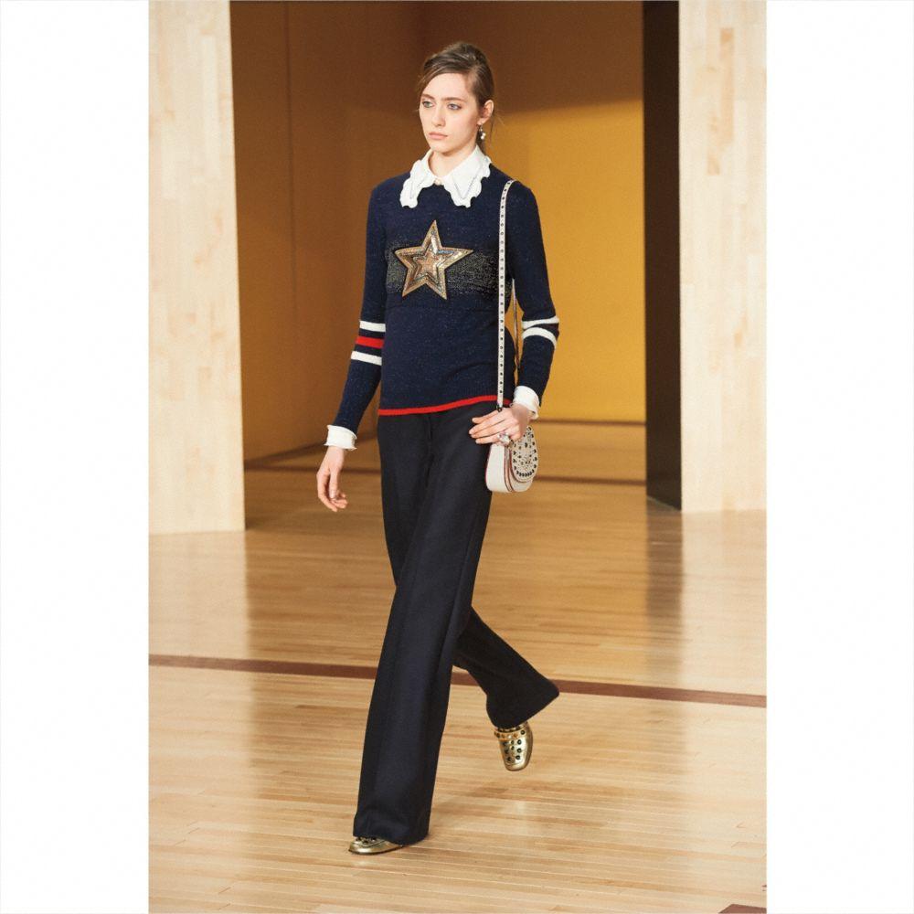 Wool Glitter Star Crewneck Sweater - Alternate View M2