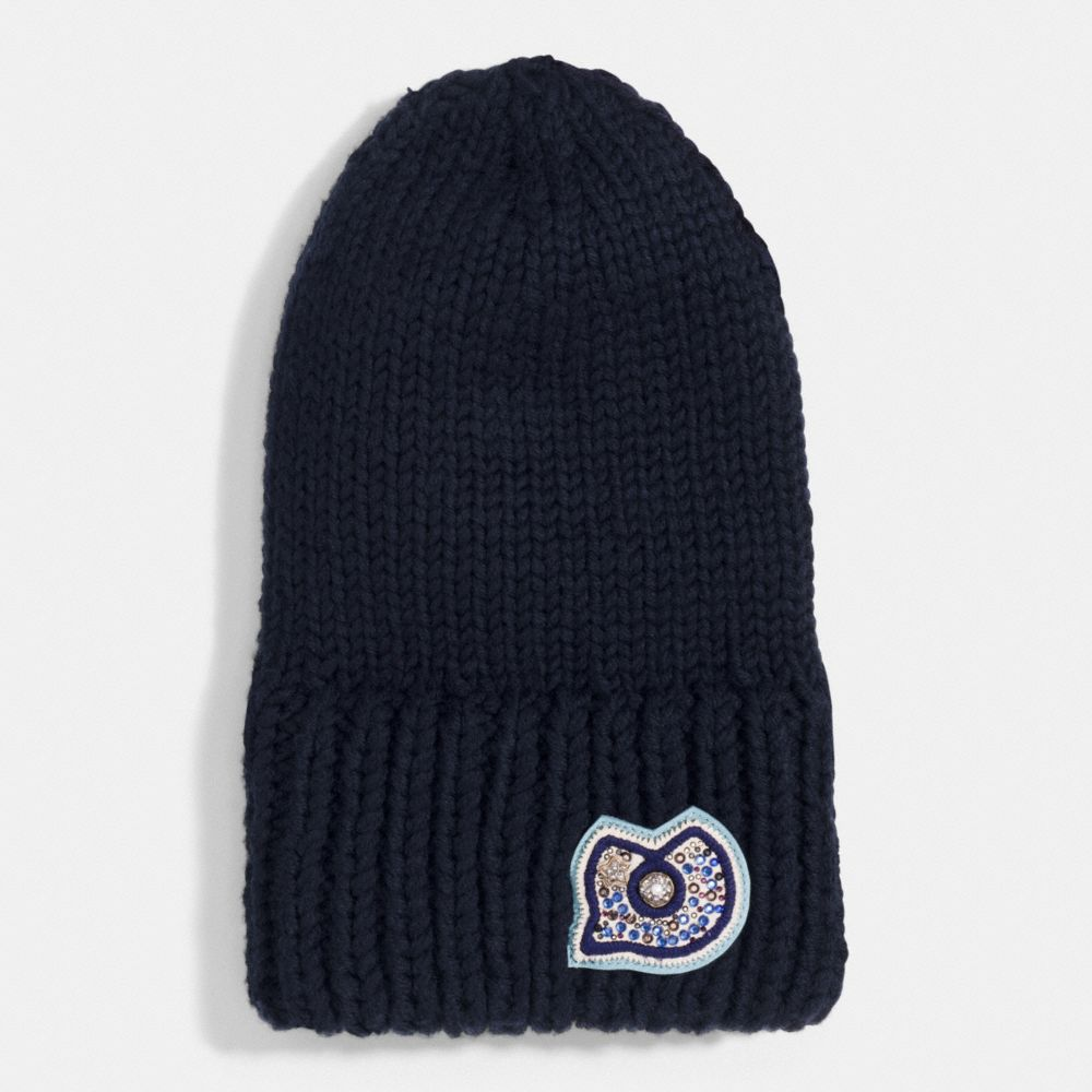 Chunky Embellished Patch Beanie - Alternate View A1