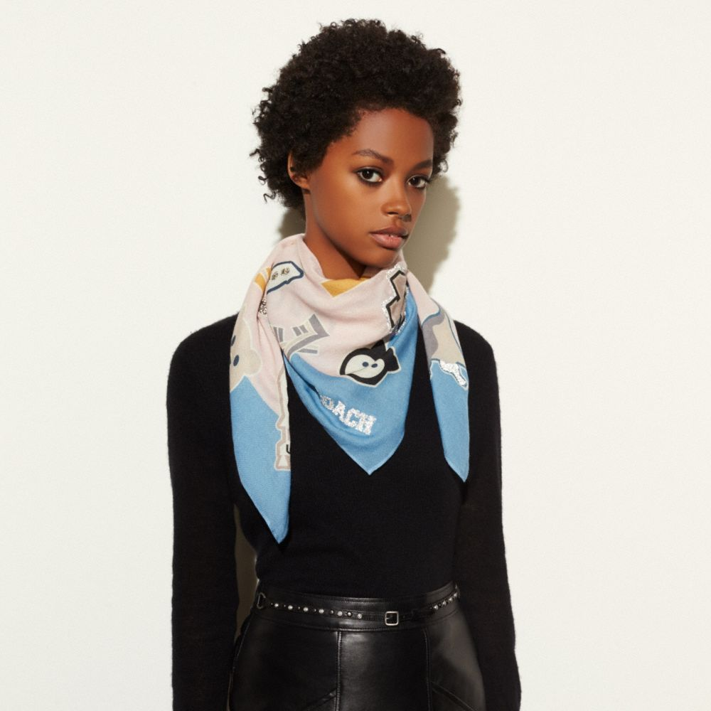 EMBELLISHED VARSITY PATCH OVERSIZED SQUARE SCARF - Alternate View