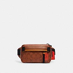 MINI EDGE BELT BAG IN SIGNATURE CANVAS WITH COACH PATCH - QB/REDWOOD MULTI - COACH 5620