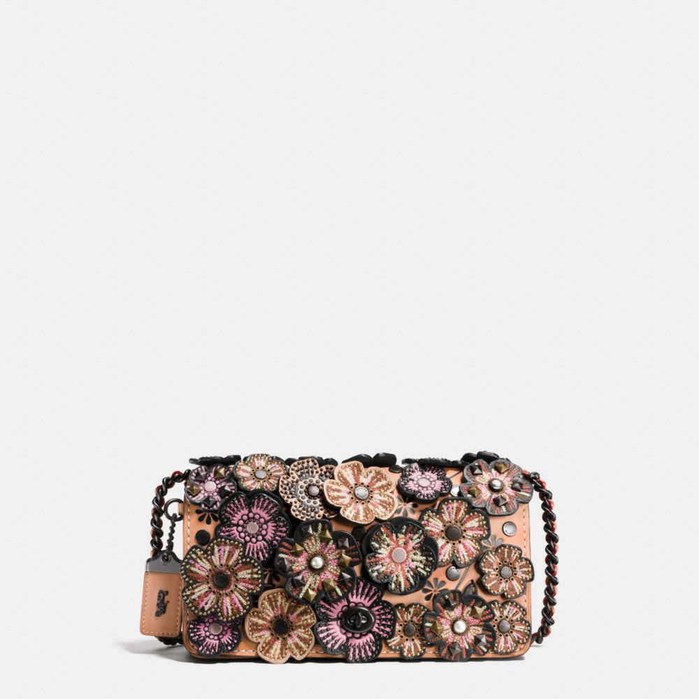 EMBELLISHED TEA ROSE APPLIQUE DINKY CROSSBODY IN GLOVETANNED LEATHER - Alternate View
