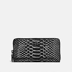 ACCORDION ZIP WALLET IN EXOTIC EMBOSSED LEATHER - DK/BLACK - COACH 56283