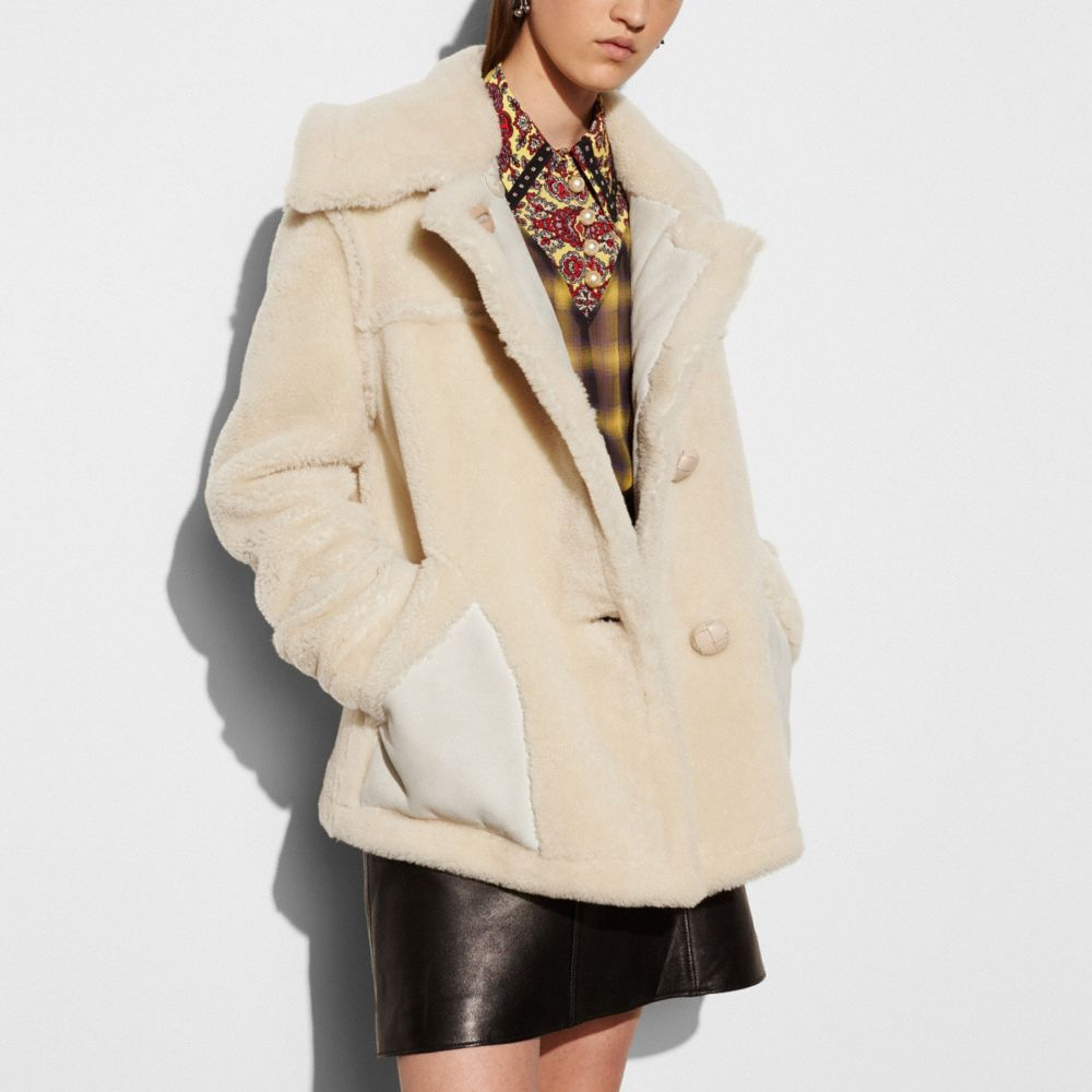 Coach Short Shearling Coat With Printed Lining Alternate View 2