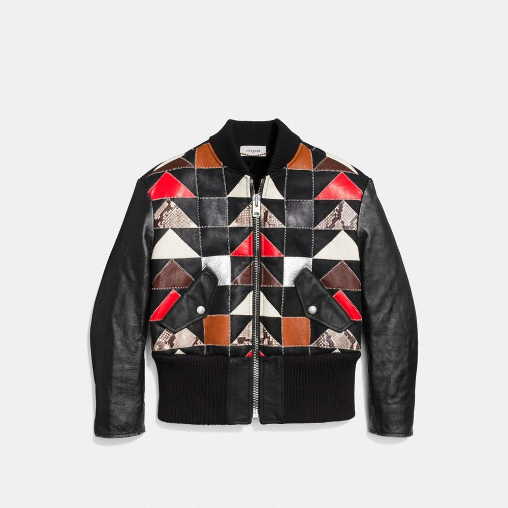 PATCHWORK SHEARLING MA-1 JACKET - Alternate View