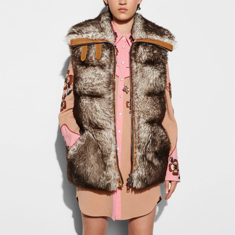 LONG SHEARLING PUFFER VEST - Alternate View