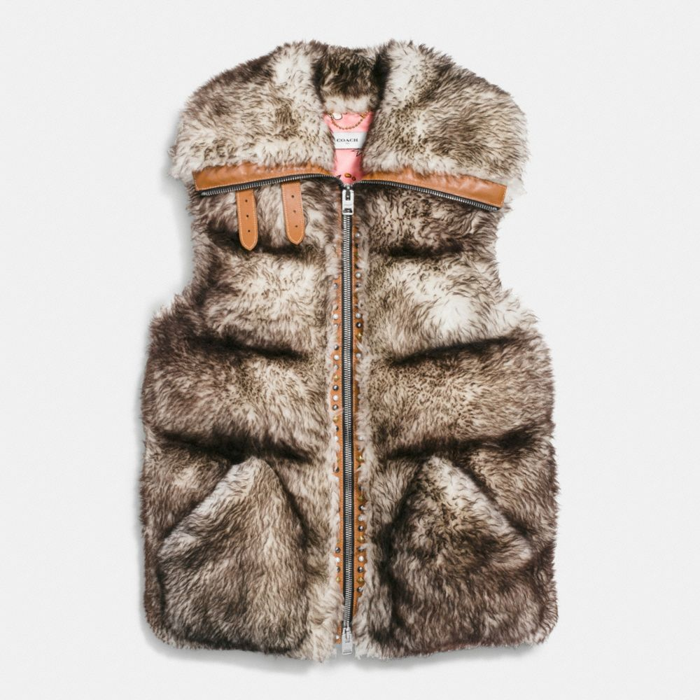 Long Shearling Puffer Vest - Alternate View A1
