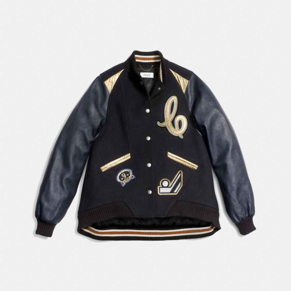 OVERSIZED VARSITY JACKET WITH METALLIC INSERTS - Alternate View