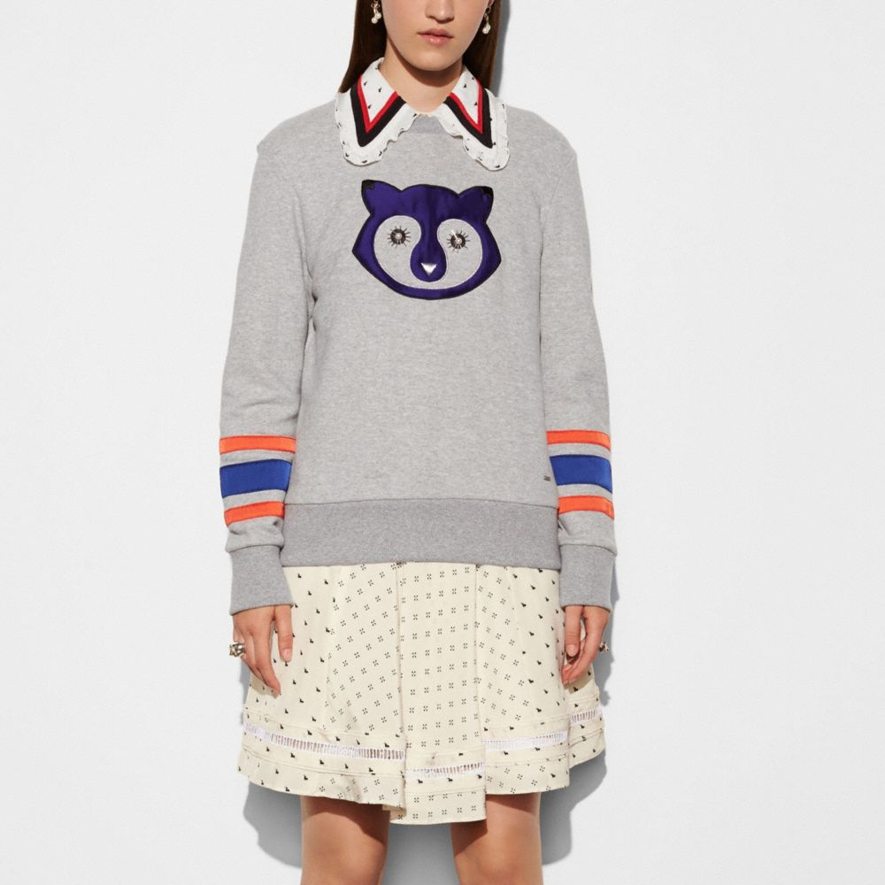 Embellished Raccoon Sweatshirt - Alternate View M