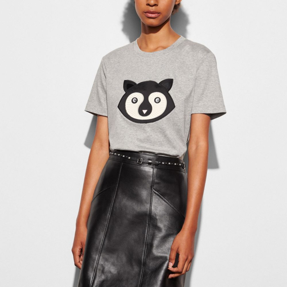 EMBELLISHED PATCH RACCOON T-SHIRT  - Alternate View