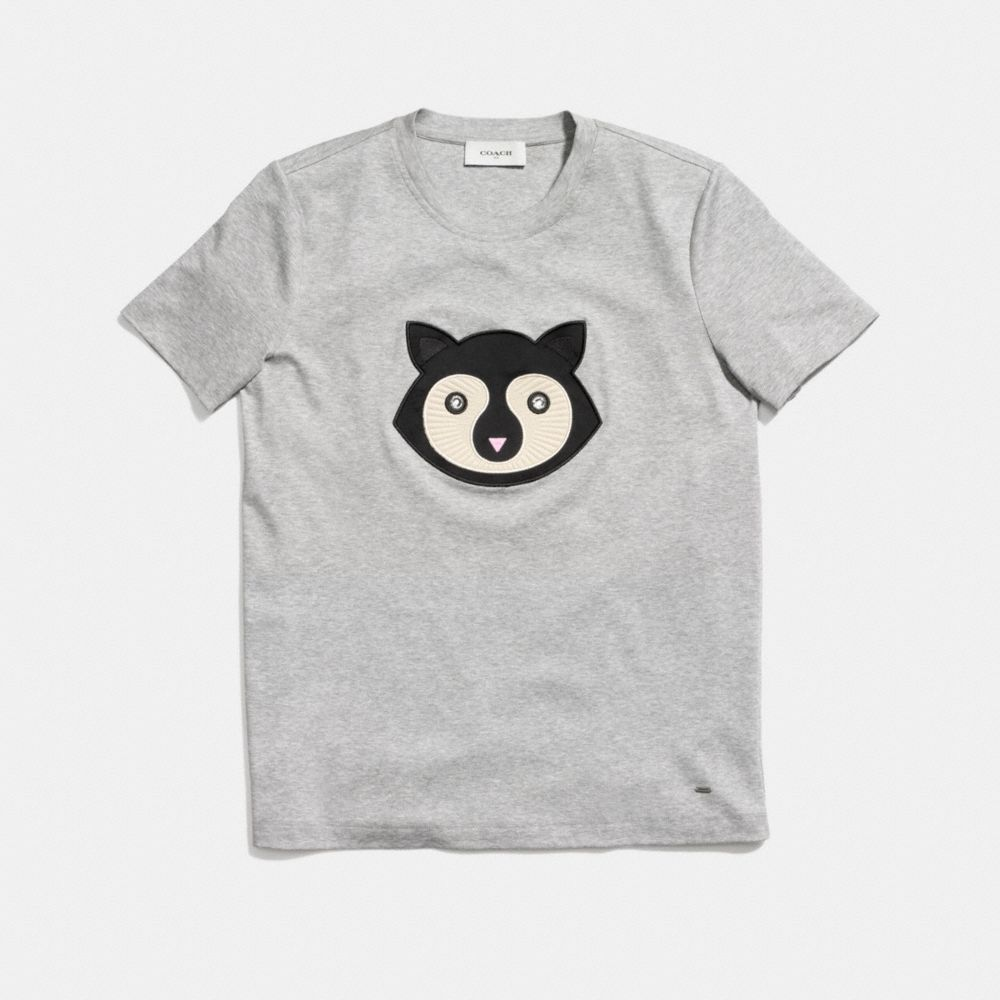 Embellished Patch Raccoon T-Shirt  - Alternate View A1