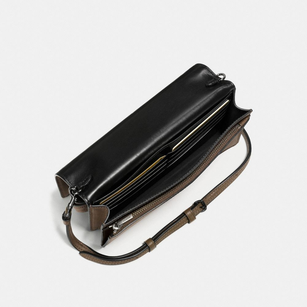 Foldover Crossbody Clutch in Glovetanned Leather With Western Rivets - Alternate View A2