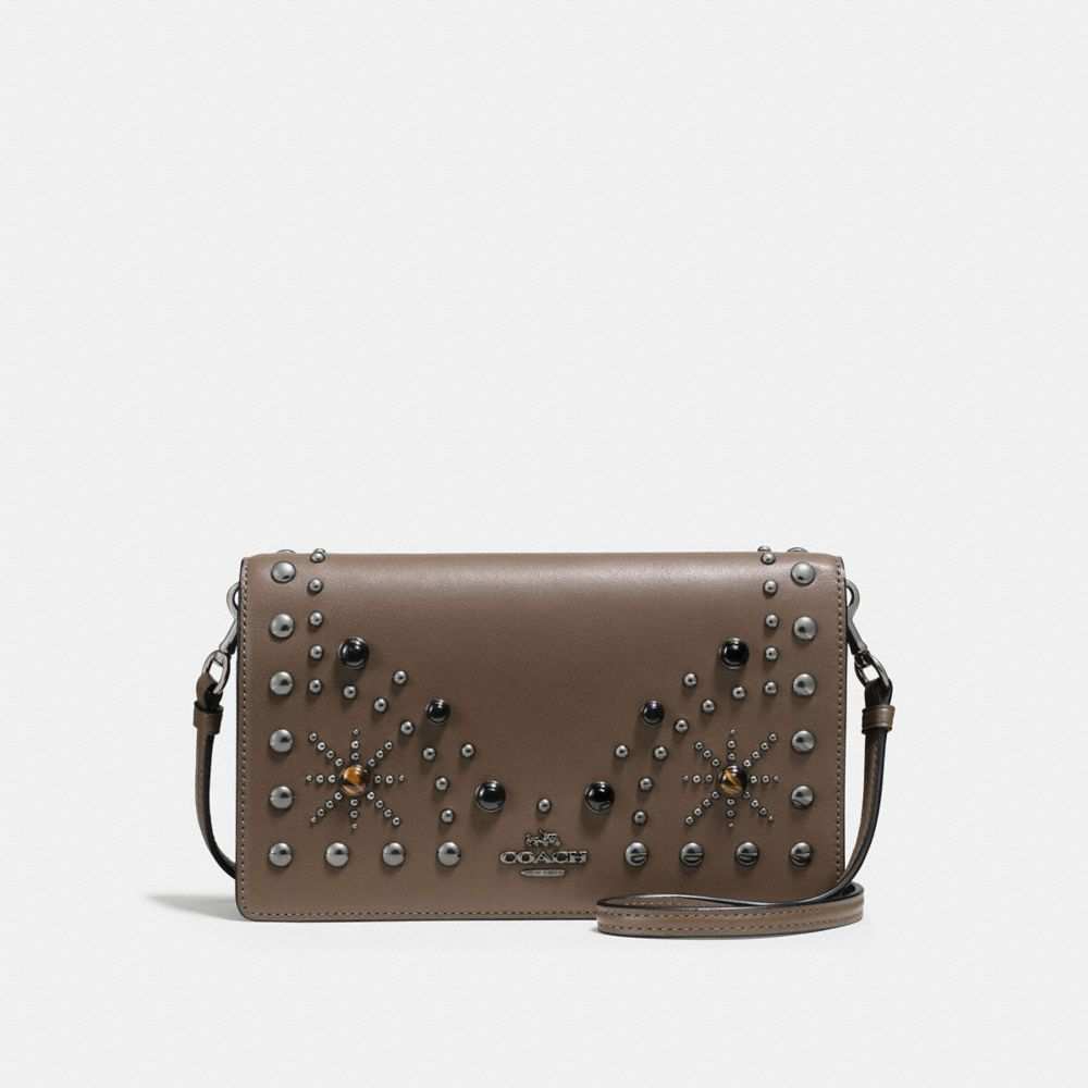 FOLDOVER CROSSBODY CLUTCH WITH WESTERN RIVETS