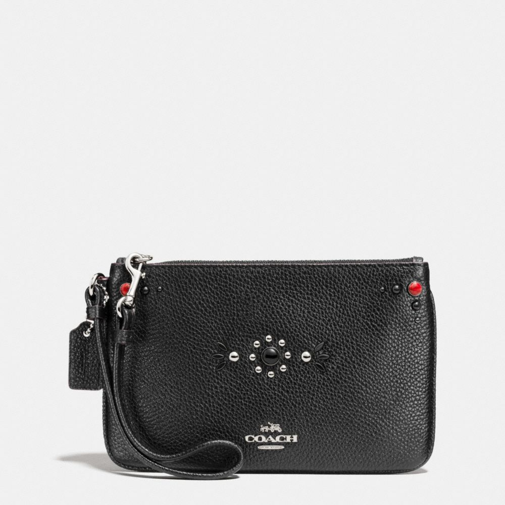 Coach Small Wristlet in Polished Pebble Leather With Western Rivets