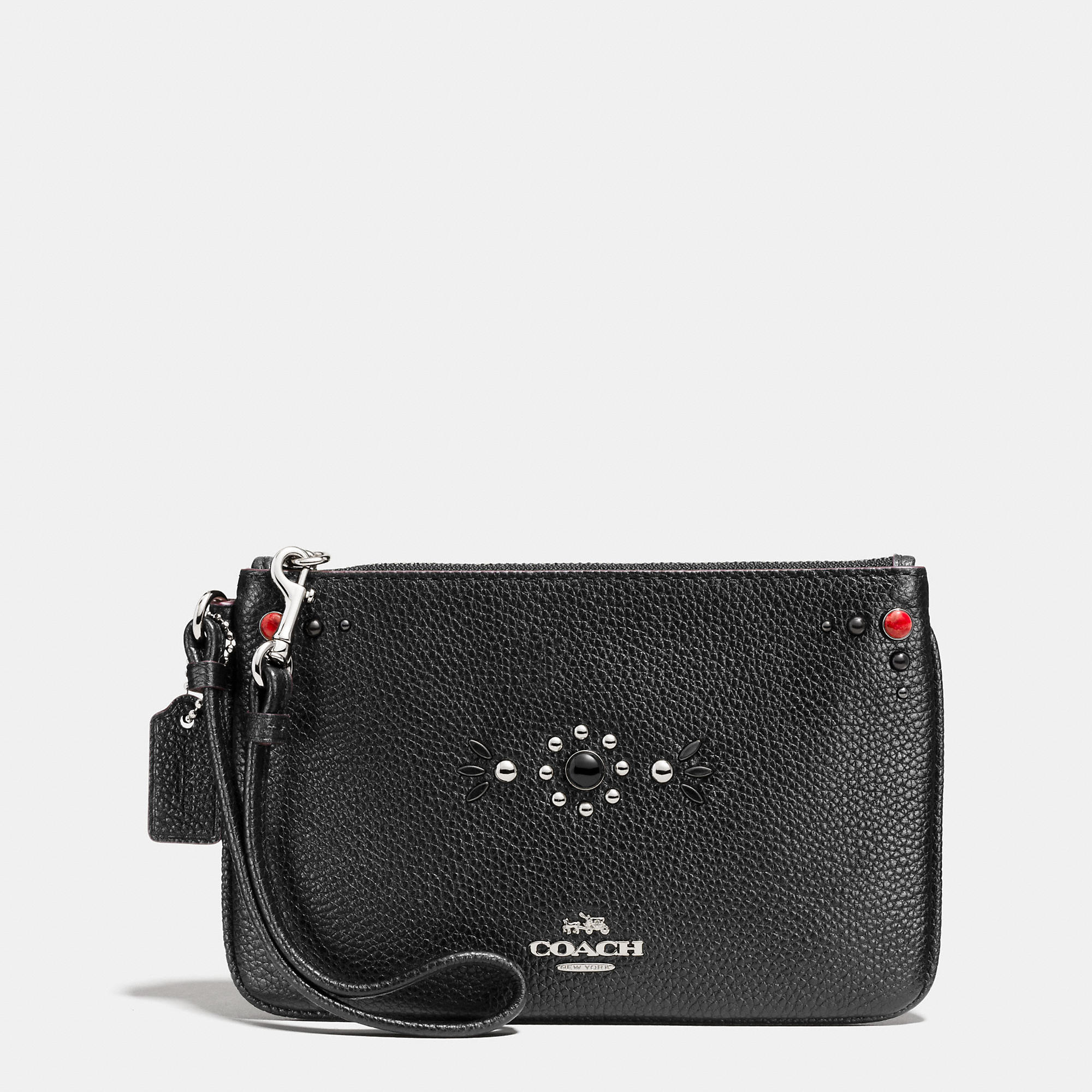 Coach Western Rivets Small Wristlet In Polished Pebble Leather