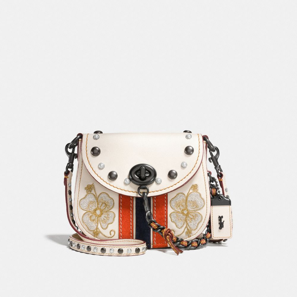 WESTERN EMBROIDERY TURNLOCK SADDLE BAG 17 IN GLOVETANNED LEATHER