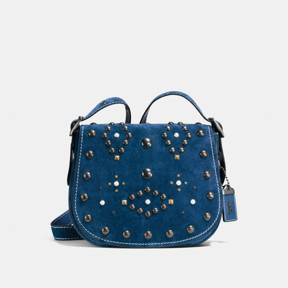 Coach Western Rivets Saddle Bag 23 in Suede