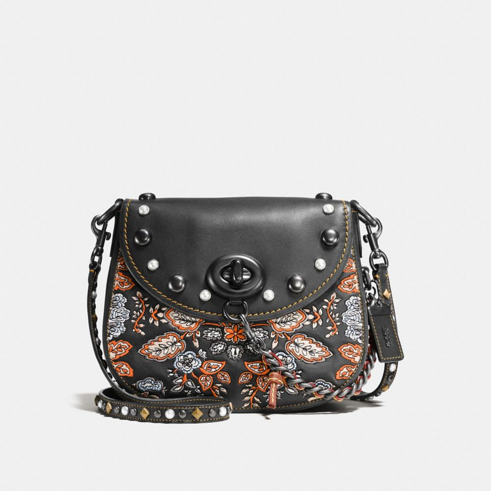 EMBELLISHED FOREST FLOWER TURNLOCK SADDLE BAG 23 IN GLOVETANNED LEATHER - Alternate View