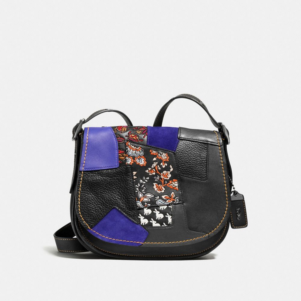 Embellished Patchwork Saddle Bag 23 in Glovetanned Leather