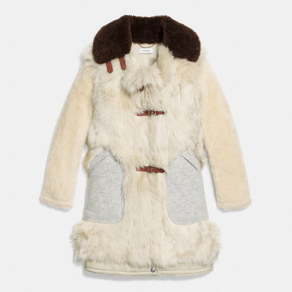 WHITE MIX SHEARLING COAT - Alternate View