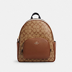 COURT BACKPACK IN SIGNATURE CANVAS - IM/KHAKI SADDLE 2 - COACH 5671
