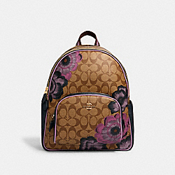 COURT BACKPACK IN SIGNATURE CANVAS WITH KAFFE FASSETT PRINT - IM/KHAKI PURPLE MULTI - COACH 5674