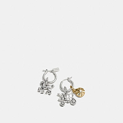 DAISY RIVET HORSE AND CARRIAGE CHARM HOOP EARRING SET