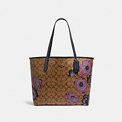 CITY TOTE IN SIGNATURE CANVAS WITH KAFFE FASSETT PRINT - IM/KHAKI PURPLE MULTI/OXBLOOD - COACH 5697
